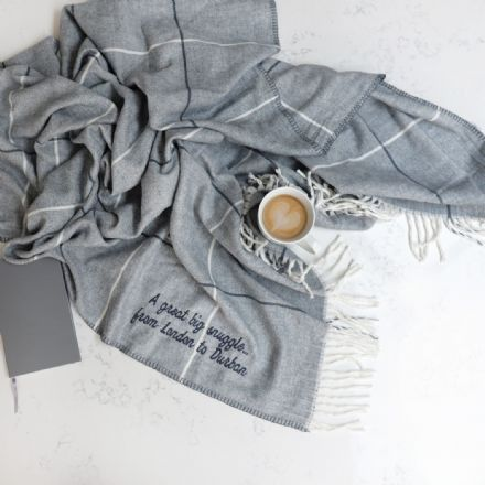 Personalised Grey Stripy Throw